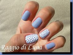 Nailpolis Museum of Nail Art | Textured blue dots on white by Tanja