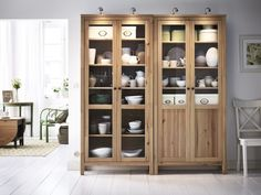 Enjoy the beauty of natural wood with HEMNES storage cabinets. Display or hide what you like. The shelves are adjustable and the bottom shelf can be removed to hide power strips and cords.