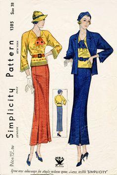 années 1930 des années 30 pièce de patron de couture vintage trois costume jupe chemisier veste buste 38 b38 repro