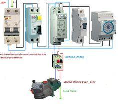 Esquemas eléctricos: motor monfasico con guadamotor reloj contactor