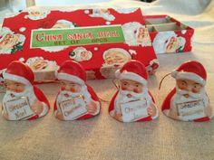 Vintage Christmas Set of 8 SANTA BELL Ornaments JAPAN in Original Box | eBay