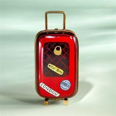Limoges Red Travel Carry On Suitcase Box | Limoges Marquise de Pompadour