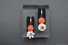 Materials: enamel, corals, cubic zirconia, silver Size: Length 38 mm ##handmade Coral Earrings, Cubic Zirconia Earrings, Corals, Close Up Photos, Enamel, Handmade, Free, Products, Vitreous Enamel