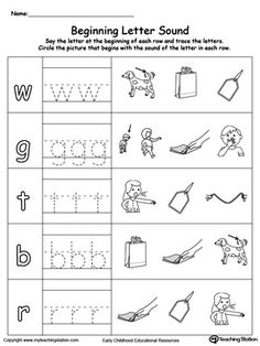 Trace and Match Beginning Letter Sound: AG Words: Help your child learn to recognize the sounds and letters at the beginning of words with this picture and letter match worksheet.