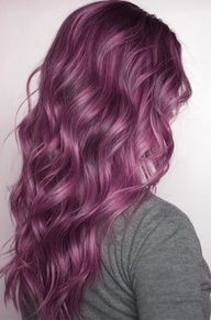 long lush plum colored wavy hair