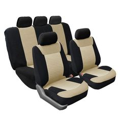FH Group Full Set Airbag-safe Beige Seat Covers (Beige), Brown