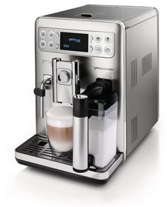 Saeco Exprelia Evo Automatic Espresso Machine- Latte, Cappuccino and macchiato lovers take note! With a touch of a button have a delicious drink in hand! #onetouch #saeco #yummy