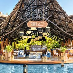 Vacation Resort in Zona Hotelera Cancun Hotels, Beach Hotels, Beach Resorts, Hotels And Resorts, Beach Restaurant Design, Outdoor Restaurant, Environmental Architecture, Bamboo Architecture, Bungalow Resorts