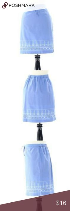 NWT Christopher Banks linen blend blue skirt This beautiful skirt is brand new with tags.   The waist is draw string elastic and measures at 16 inches across unstretched.   It will stretch another 3 to 4 inches.  The length is 21 inches. Christopher & Banks Skirts