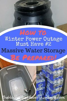 Winter Storm Preparedness - Massive Water Storage on the Cheap - In order to protect and provide for your family in any winter storm power outage, you must have adequate water storage. Experts consider one gallon of water per person per day to be an appro Disaster Preparedness, Survival Prepping, Survival Food, Survival Essentials, Survival Hacks, Survival Shelter, Homestead Survival, Survival Skills, Water Storage Tanks