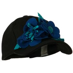 Wool Cap with Flowers - Black Blue