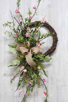 Cherry Blossom Wreath with Burlap Bow Wreaths Spring Wreath Farmhouse Wreath Summer Wreath Front Doo Green Front Doors, Spring Front Door Wreaths, Spring Wreaths, Deco Floral, Diy Wreath, Wreath Ideas, Wreath Burlap, Wreath Bows, Wreath Making