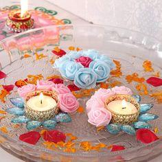 Floating Tealight Diya Set and Flower Diwali Candle Holders, Diwali Candles, Tealight Candle Holders, Diwali Diya, Diwali Craft, Diwali Gifts, Diya Decoration Ideas, Diwali Decorations At Home, Handmade Decorations