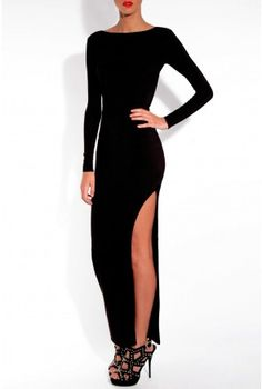 Rare London long sleeved fitted maxi dress with scooped back and side split detail