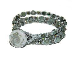 Emerald and Swarovski Crystal Gemstone macrame by GemsdeVine on Etsy, $42.99