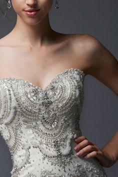 Embroidered strapless sheath #wedding dress by Enaura Bridal #weddings #weddingdress