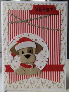 Annemarie en Merit : 52 weeks to Christmas week Diy Christmas Cards, Christmas Art, Christmas Girls, Dog Cards, Kids Cards, Marianne Design Cards, Collectible Cards, Animal Cards, Greeting Cards Handmade