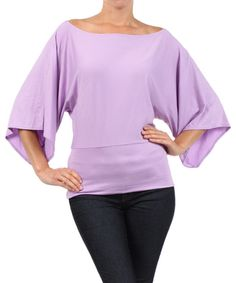 Look at this J-Mode USA Los Angeles Lilac Dolman Off-Shoulder Top - Plus on #zulily today!