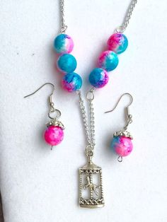 Carousel Necklace and Earrings Set Girl's by RedSilentWolfJewelry