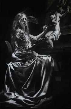 Artemisia Gentileschi - Charcoal and graphite on paper - cm - 2016 - Emanuele Dascanio Amazing Paintings, Realistic Paintings, Realistic Drawings, Angel Paintings, Art Paintings, Graphite Drawings, Pencil Art Drawings, Painting & Drawing, Artemisia Gentileschi