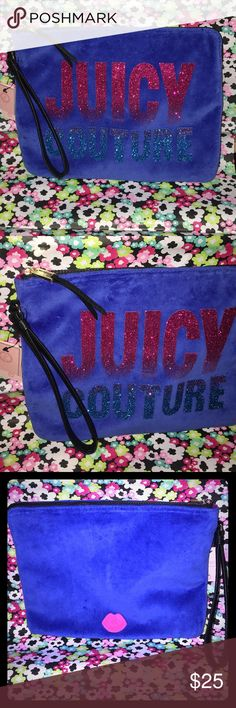 "JUICY COUTURE XL Clutch Pouch Handbag ~NWT~ This is a brand new with tags item for sale by JUICY COUTURE. This JUICY COUTURE clutch-Pouch is a blue ""Velvet"" like material with the logo on the front in Multicolored glitter. A black Handle made of PVC and a super durable zipper as your closure. The inside of the bag is lined with a thick plastic so you can carry any wet items I.E. Bathing-suit Or use it as a Makeup Travel Bag too! Endless possibility with this Clutch. Measurements are: length…"