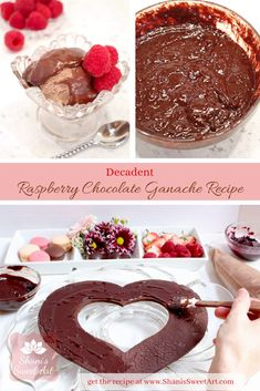 A quick and easy recipe for decadent raspberry chocolate ganache with step by step instructions and product recommendations from Shani's Sweet Art Raspberry Ganache, Raspberry Chocolate, Chocolate Ganache, Chocolate Desserts, Ganache Recipe, Buttercream Recipe, Frosting Recipes, Bite Size Desserts, Fancy Desserts
