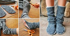 Upcycled Sweater Slipper Boots #diy