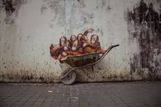 """Street art by Ernest ZacharevicBorn 1986 in Lithuania, Ernest """"ZACH"""" Zacharevic is a multidiscipline artist based in Penang, Malaysia. With a classic education in fine art, he is known for the mashup with different techniques and styles from the. Ipoh, Activist Art, Reverse Graffiti, Street Installation, Urban Painting, Palm Oil, Environmental Art, Street Art Graffiti, Art Festival"""