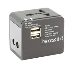 Wonje Dual USB 1000mA 5Vdc Universal World Travel Plug Adapter 150 Countries AC 110V250V Black * Read more reviews of the product by visiting the link on the image.