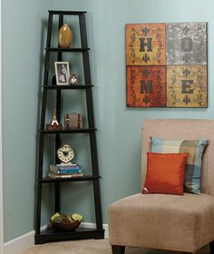 Features Made Of MDF Espresso Finish Product Type Corner Unit Style Traditional Walnut Frame Material Wood Shelving