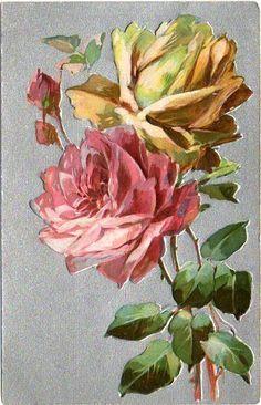 Vintage Unused Embossed Postcard w/Pink & Yellow Roses on Silver Back