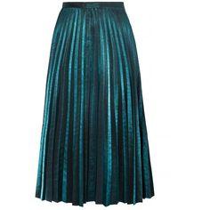 Metallic Green Pleated Midi Skirt (505 RON) ❤ liked on Polyvore featuring skirts, teal, blue skirt, metallic skirt, pleated skirt, calf length skirts and midi skirt