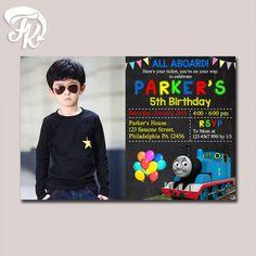 Thomas the Train Invitation Birthday Party Card Digital Invitation $9.19 USD