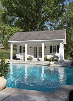 pool house, granite coping, deck