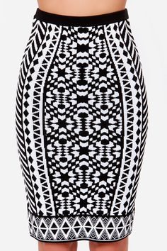 Black and White Print Pencil Skirt