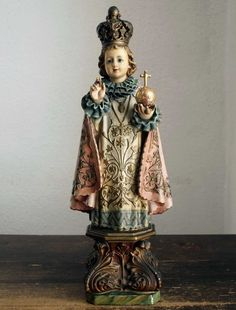 Etsy のThe Infant Jesus of Prague Antique Religious Statues Young Jesus Vintage Figure /959(ショップ名:GliciniaANTIQUE)