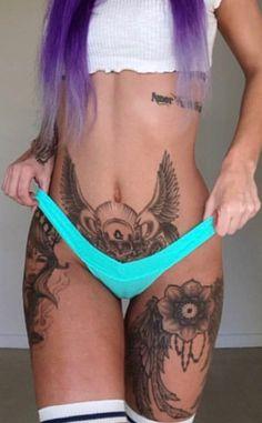 Hot Tattoos, Body Art Tattoos, Girl Tattoos, Tattoos For Women, Spade Tattoo, Bikini Tattoo, Beautiful S, Stomach Tattoos, Tattoos