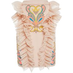 Manish Arora Embroidered Ruffle Pencil Skirt (€1.805) ❤ liked on Polyvore featuring skirts, knee length pencil skirt, high-waist skirt, high waisted knee length skirt, frilly skirt and pencil skirt