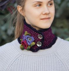 RESERVED for ARLENE Purple Pansy Scarf by ValerieBaberDesigns