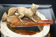 Antique Carved Wolf w/ Amber Resin Cigar by csforevervintage, $135.00
