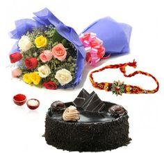 Mix Roses with Chocolate Cake and Rakhi