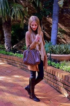 Winter, style, casual, scarf, boots, fall, Louis Vuitton Bag