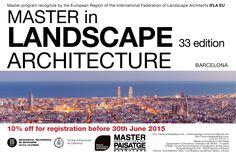 UNTIL 30th June, 10% off. Master in Landscape Architecture. #Barcelona