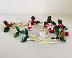 Excited to share this item from my shop: Vintage Christmas cake decorations, Vintage Christmas cake toppers The Best Of Christmas, Christmas Past, Beautiful Christmas, Christmas Cake Topper, Christmas Cake Decorations, Merry Christmas Sign, Vintage Christmas, Vintage Decor, Cake Toppers