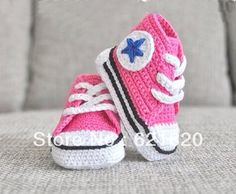 15% off! pink - crochet baby sneakers with blue star- crochet baby shoes .handmade shoes.china shoes.cheap.1pairs/2pcs