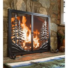 Alpine Small Fireplace Fire Screen With Doors, Black - Plow & Hearth