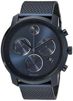 Movado Mens Swiss Quartz and StainlessSteelPlated Casual Watch ColorBlue Model 3600403 -- Continue to the product at the image link. (Note:Amazon affiliate link)