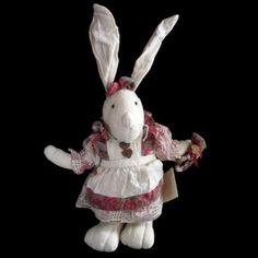Muslin Rabbit Holding Heart Wreath