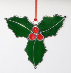 Stained Glass Suncatcher Holly with Berries by GLASSbits on Etsy