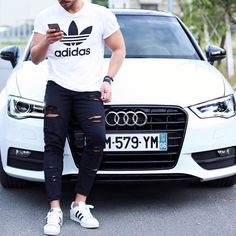 #adidasoriginals t shirt and #distressed jeans #audi [ http://ift.tt/1f8LY65 ] #royalfashionist